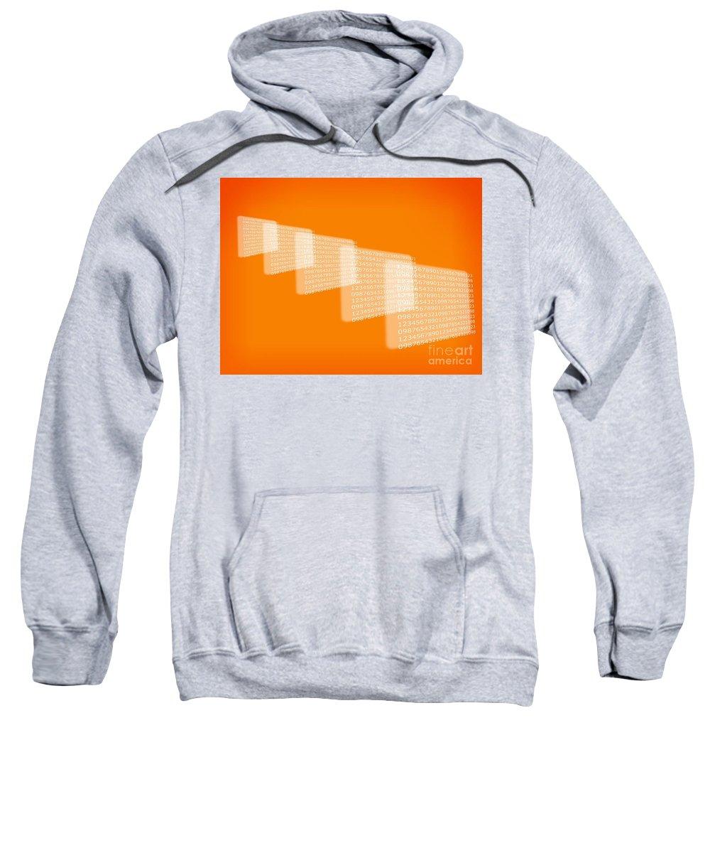 Background Sweatshirt featuring the digital art Background Numbers by Henrik Lehnerer