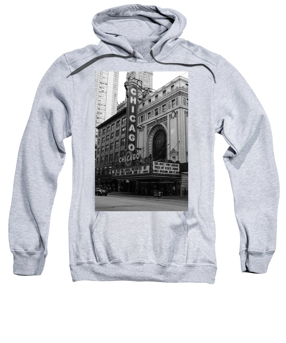 America Sweatshirt featuring the photograph Chicago Theater by Frank Romeo