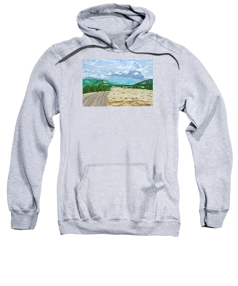 Dirt Road Sweatshirt featuring the painting Country Road by John Wilson