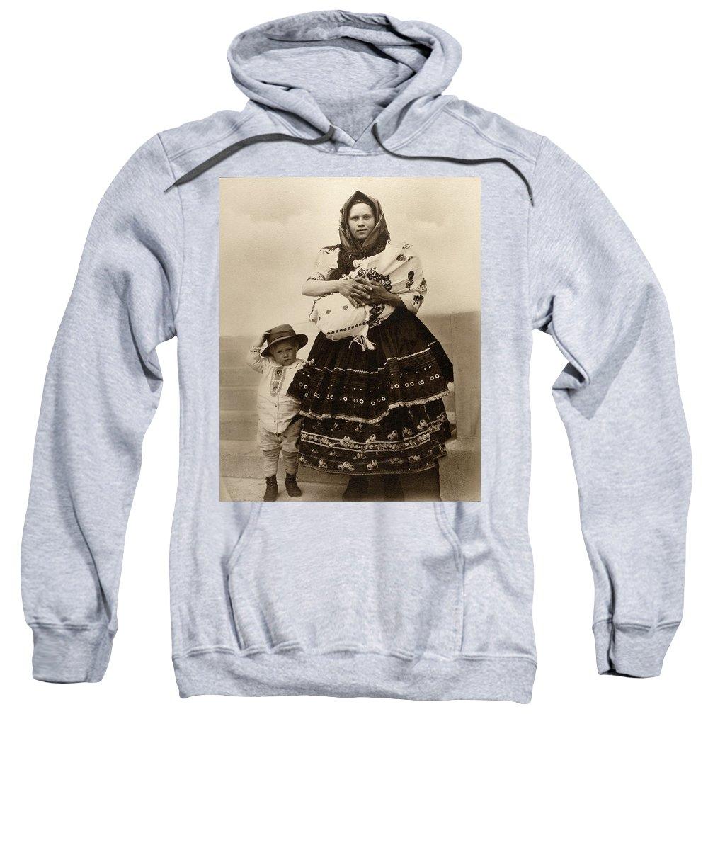 1910 Sweatshirt featuring the photograph Ellis Island Women, C1910 by Granger