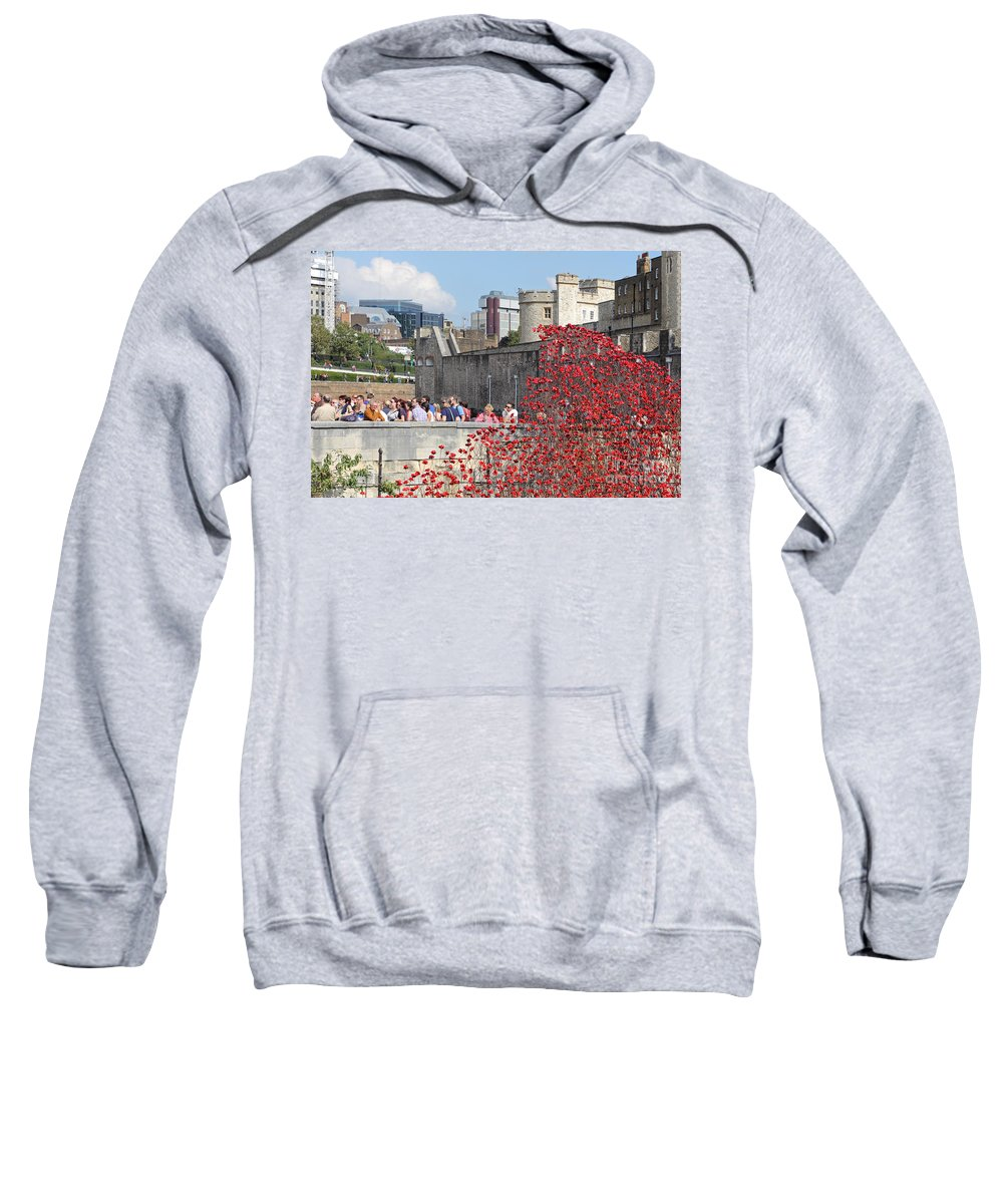 Remembrance Poppies At Tower Of London Sweatshirt featuring the photograph Remembrance Poppies At Tower Of London by Julia Gavin