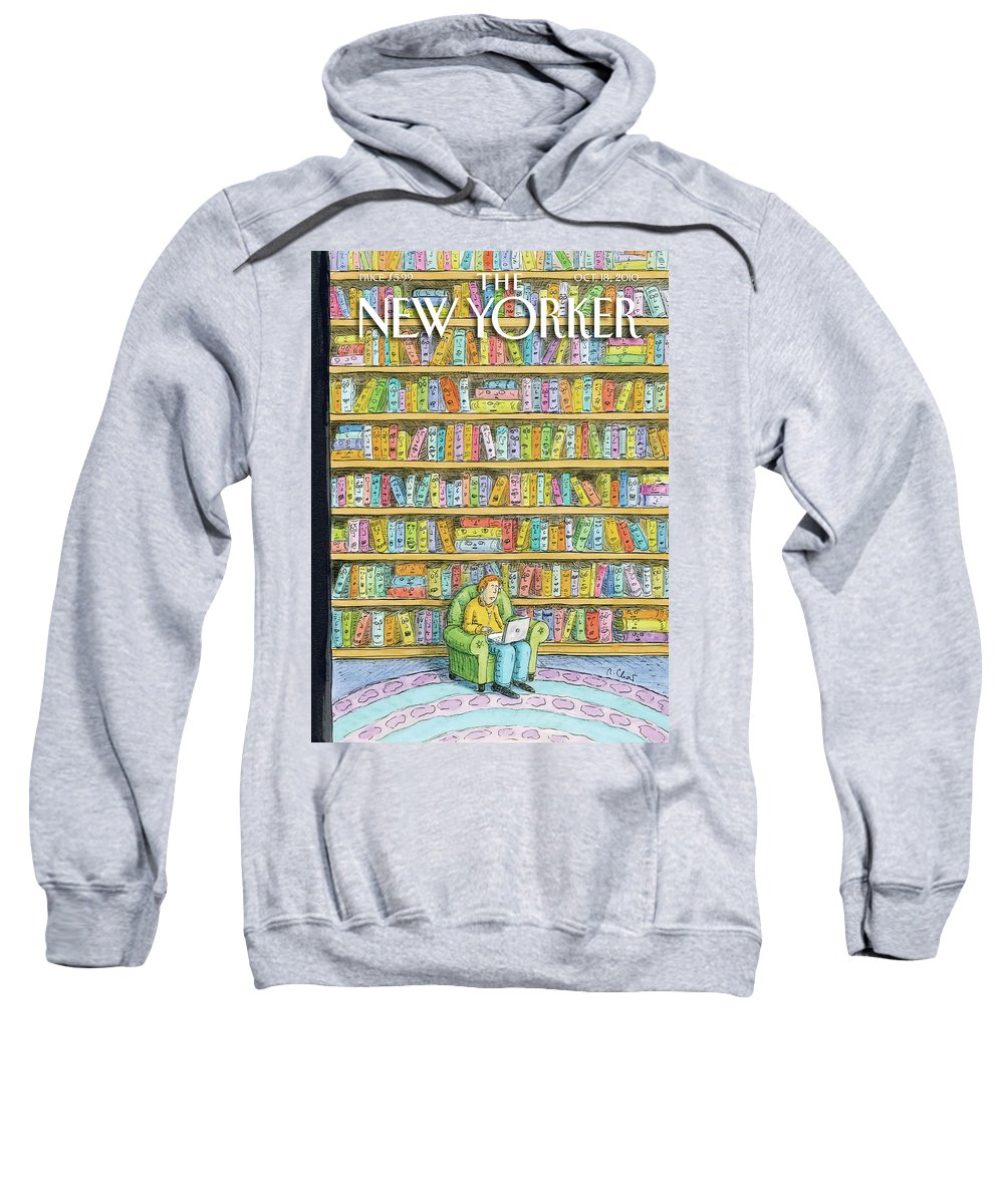 Computer Sweatshirt featuring the painting Shelved by Roz Chast
