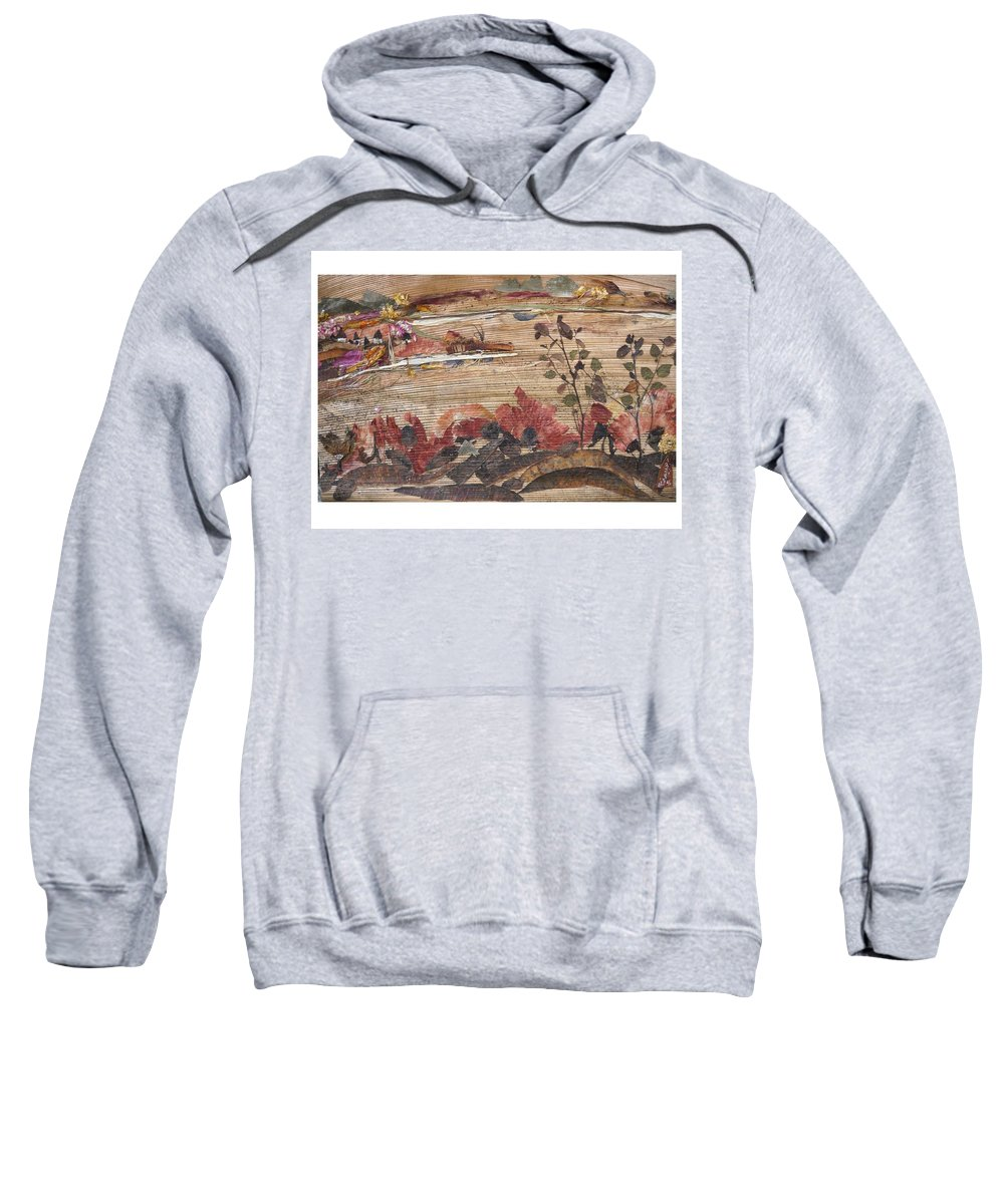 Landscape Sweatshirt featuring the mixed media Village Near Pond by Basant Soni