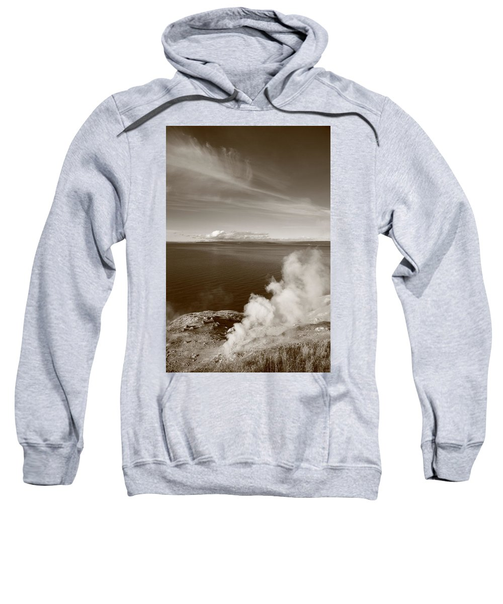 America Sweatshirt featuring the photograph Yellowstone Lake And Geysers by Frank Romeo