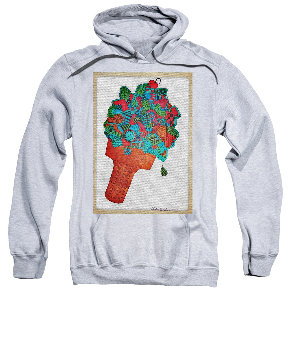 Collage Sweatshirt featuring the drawing 31 Flavors by Chelsea Geldean