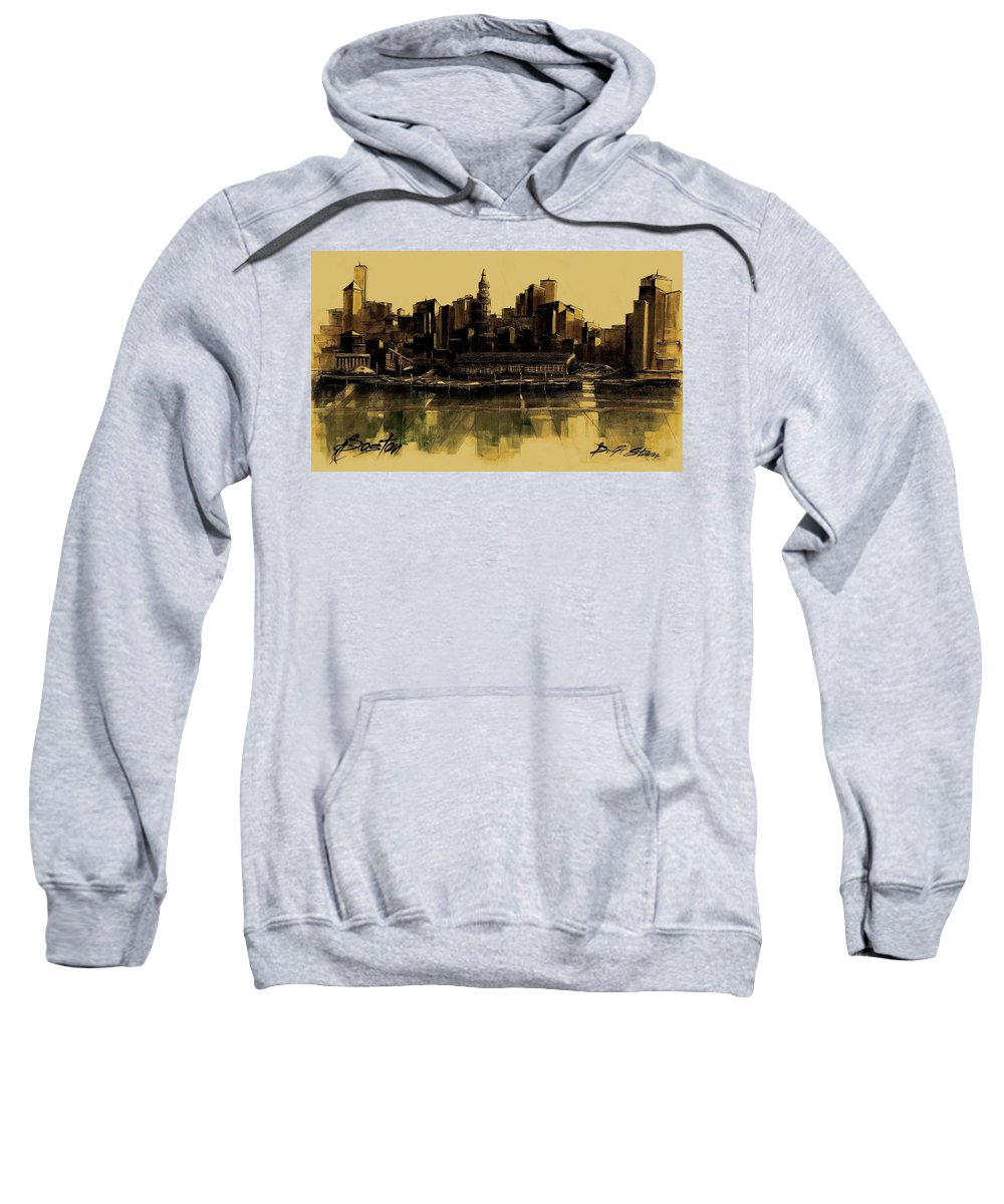 Fineartamerica.com Sweatshirt featuring the painting Boston Skyline by Diane Strain
