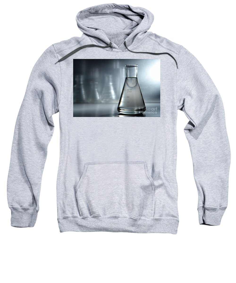 Erlenmeyer Sweatshirt featuring the photograph Laboratory Equipment In Science Research Lab by Science Research Lab By Olivier Le Queinec