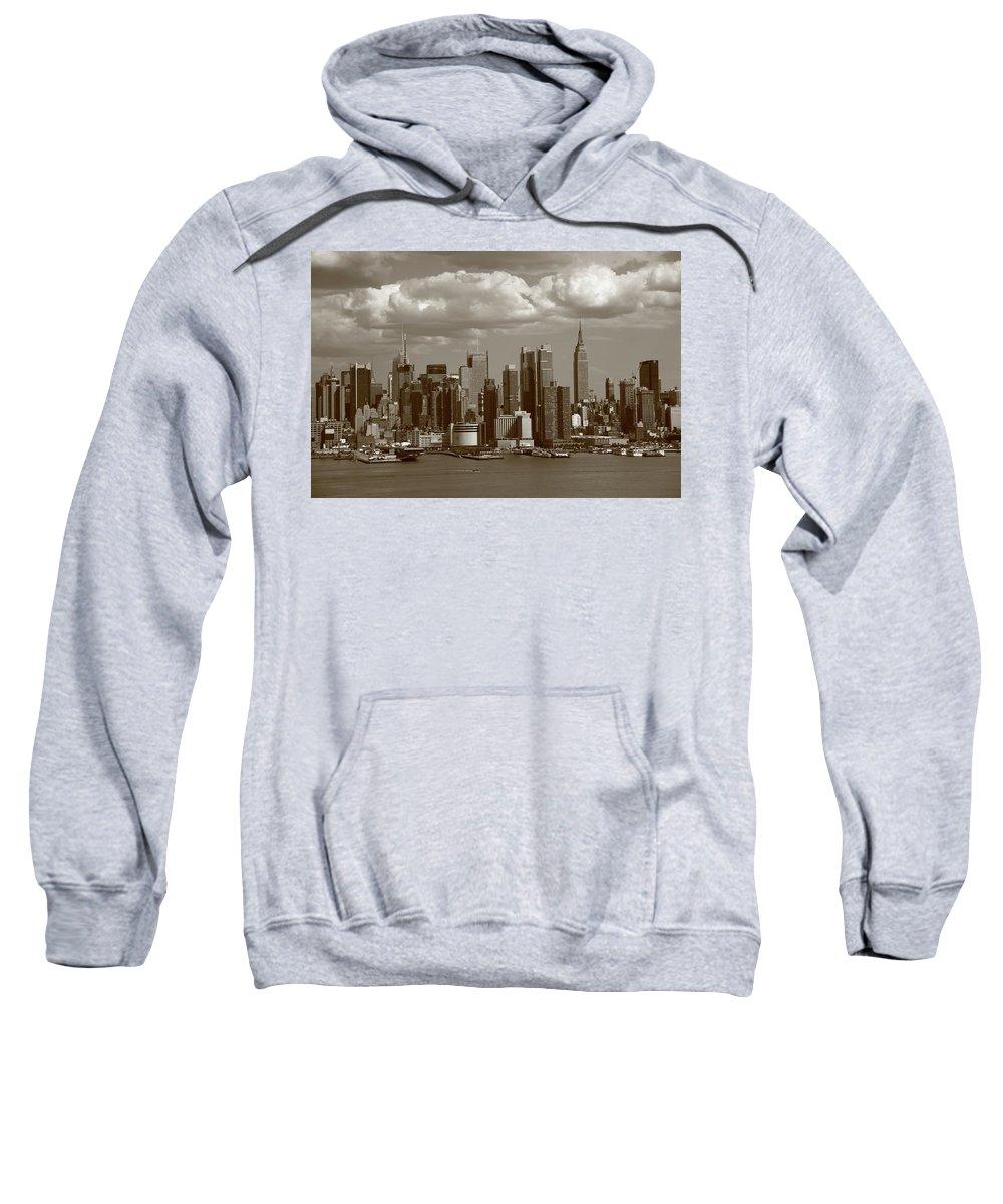 America Sweatshirt featuring the photograph New York City Skyline by Frank Romeo
