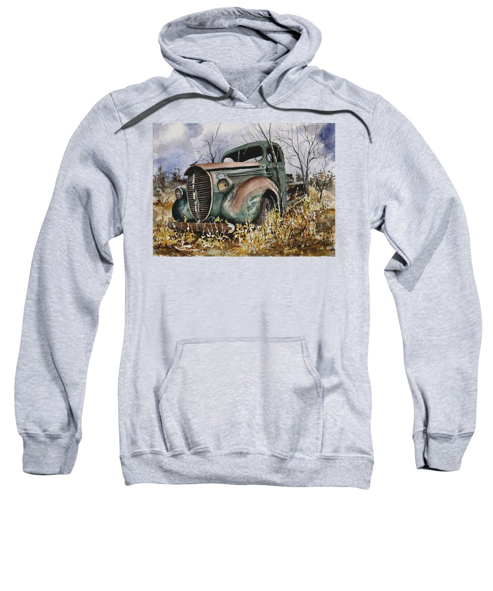 Truck Sweatshirt featuring the painting 39 Ford Truck by Sam Sidders