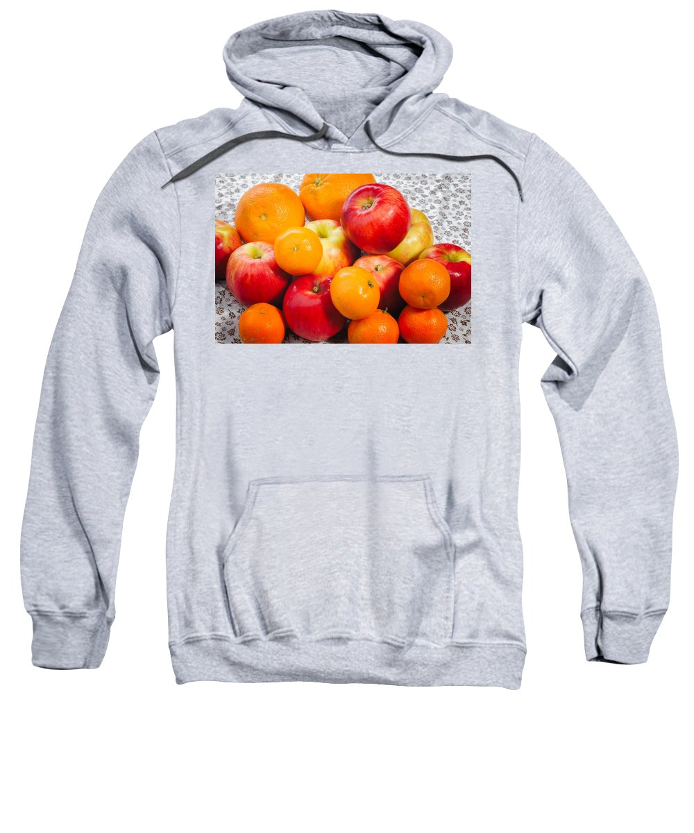 Agriculture Sweatshirt featuring the photograph Apple Tangerine And Oranges by Alain De Maximy