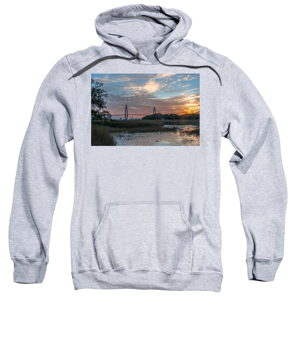 Sunset Sweatshirt featuring the photograph Charleston Cooper River Bridge by Dale Powell