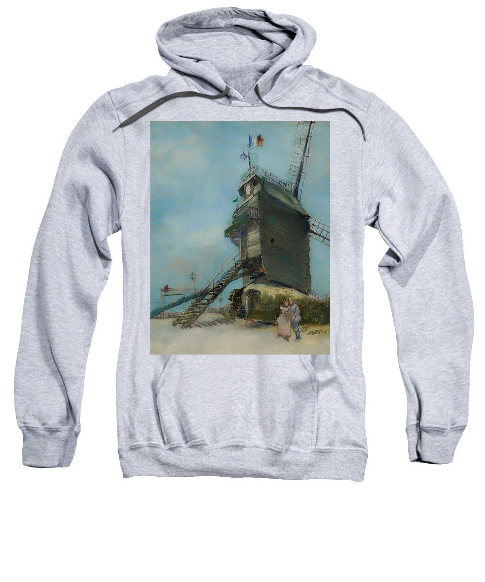 Painting Sweatshirt featuring the painting Le Moulin De La Galette by Mountain Dreams