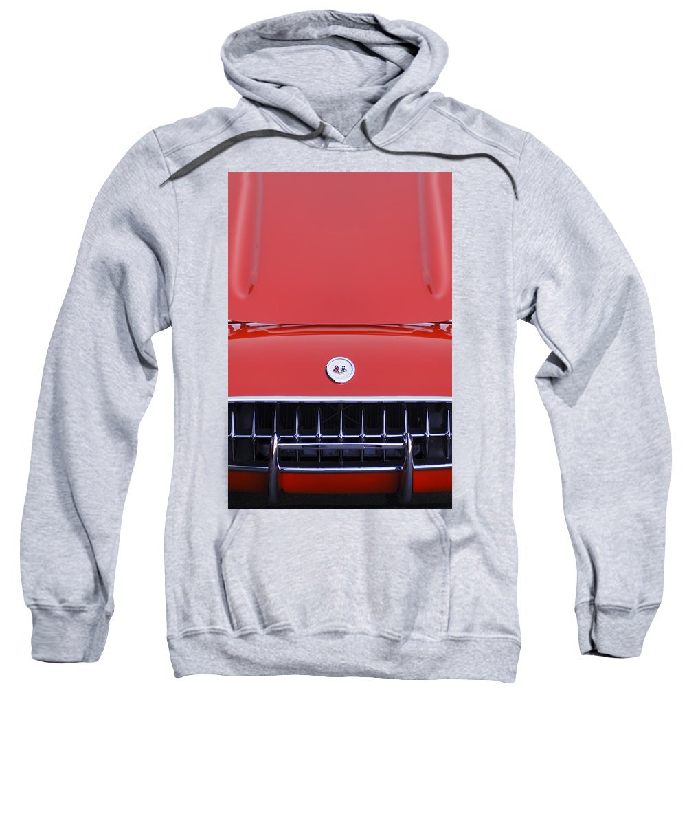 1957 Chevrolet Corvette Grille Sweatshirt featuring the photograph 1957 Chevrolet Corvette Grille by Jill Reger