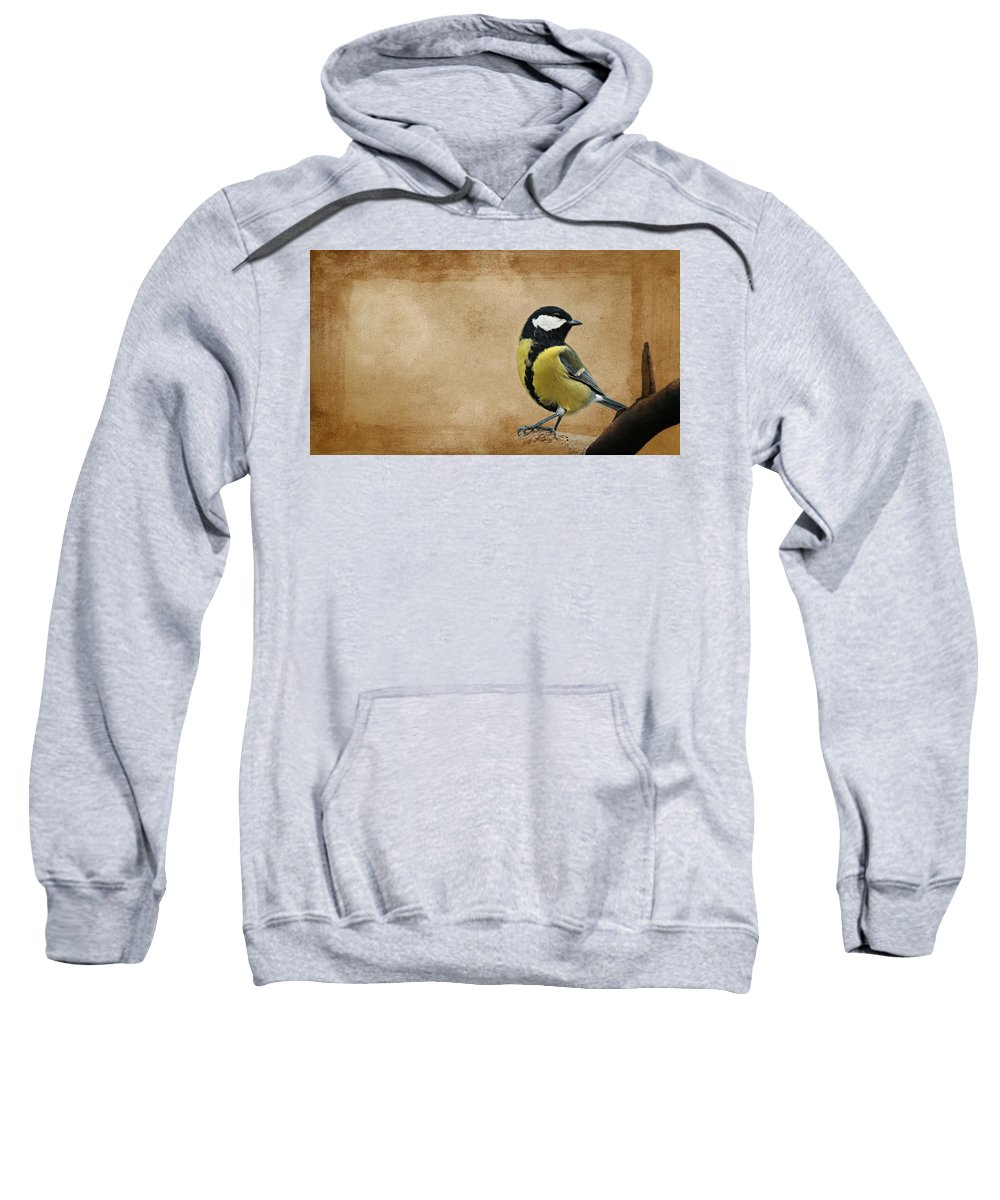 Tit Sweatshirt featuring the mixed media Bird by Heike Hultsch