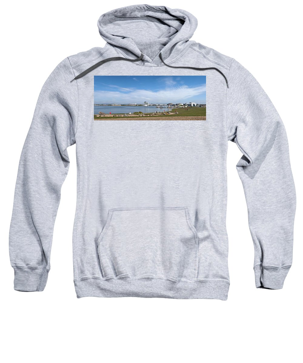 Cardiff Bay Sweatshirt featuring the photograph Cardiff Bay Panorama by Steve Purnell