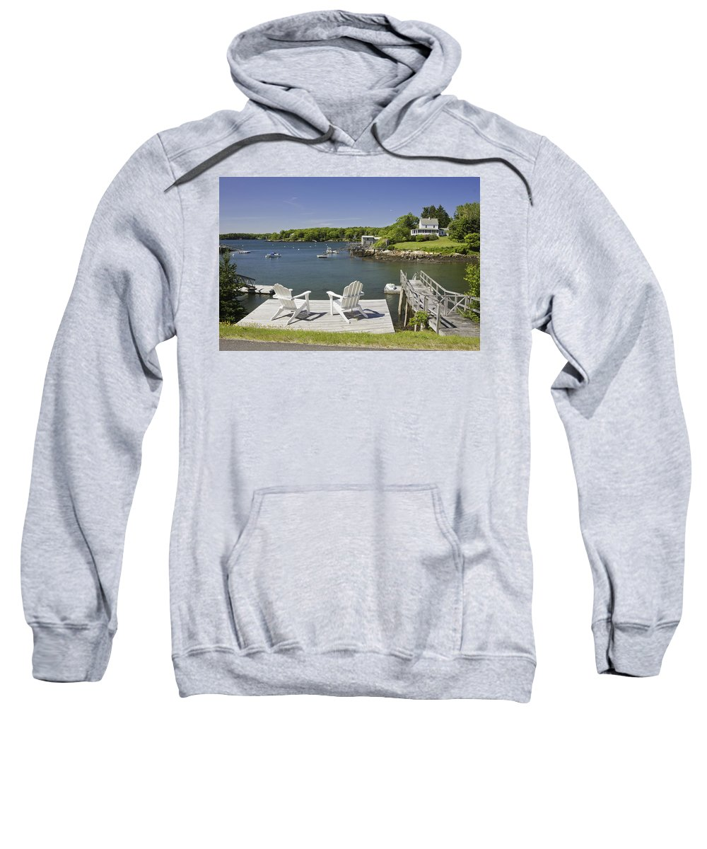 Maine Sweatshirt featuring the photograph South Bristol On The Coast Of Maine by Keith Webber Jr