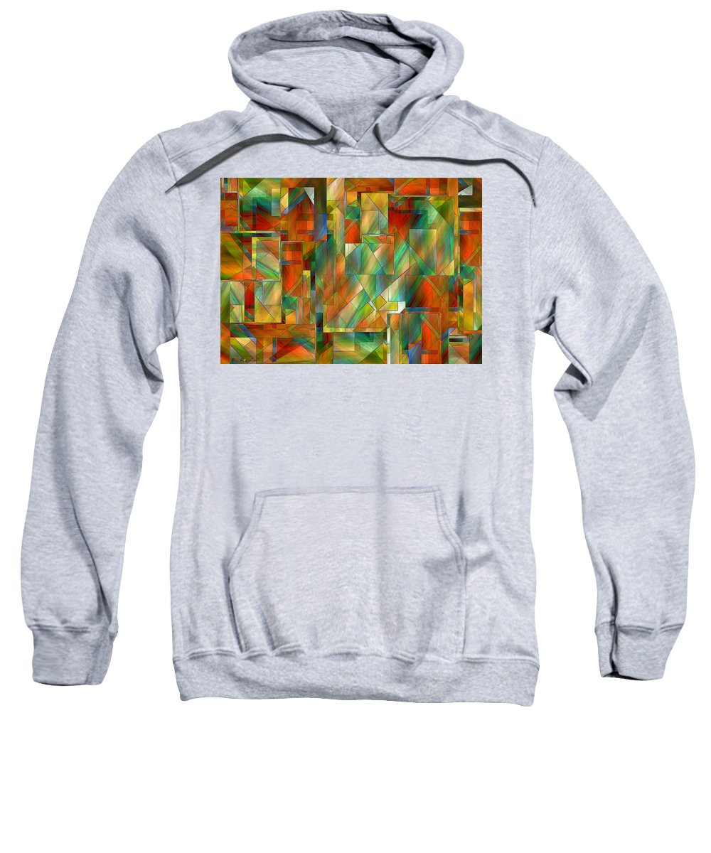 Abstract Sweatshirt featuring the painting 53 Doors by RC DeWinter