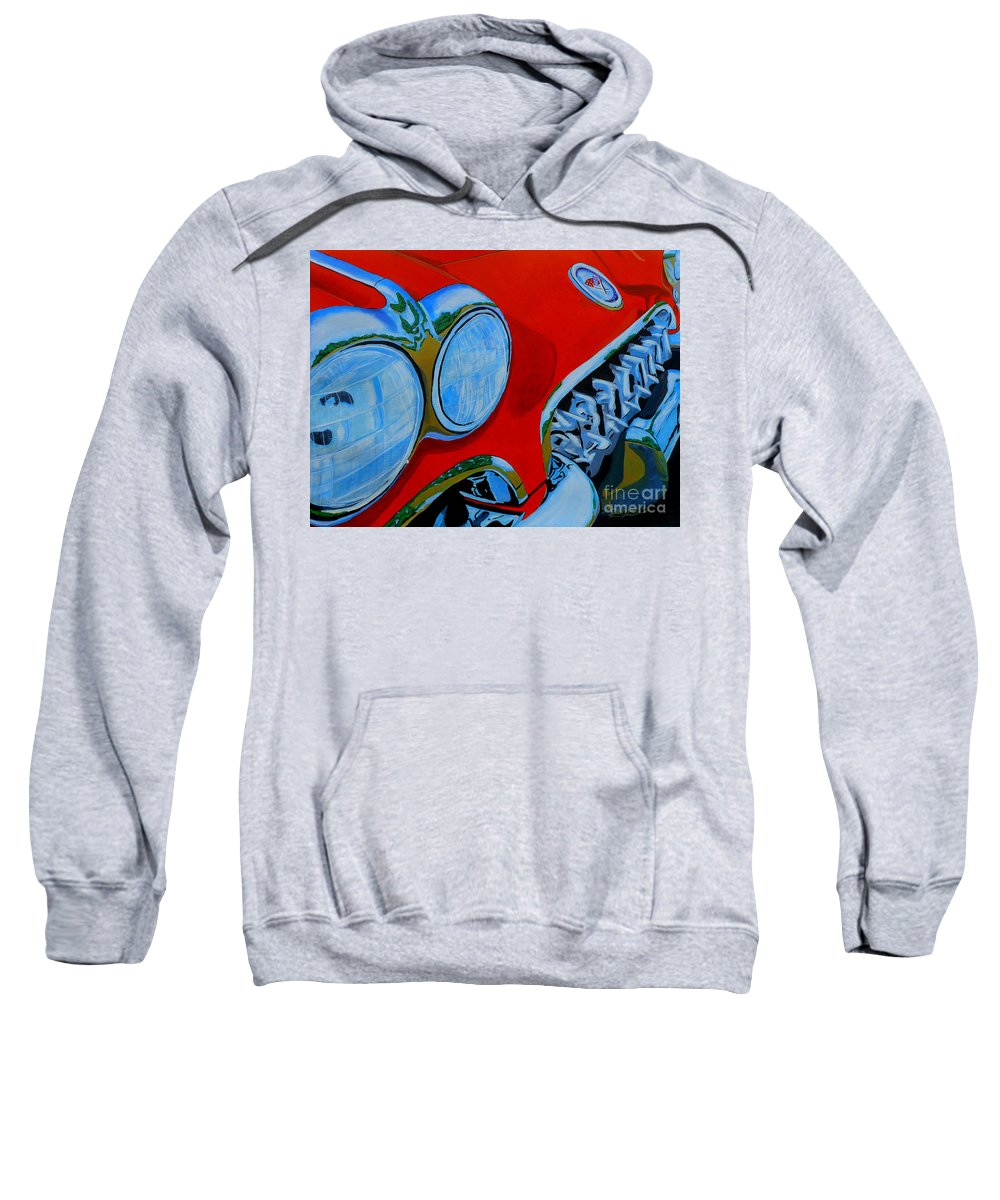 Corvette Sweatshirt featuring the painting 58 Vette by Anthony Dunphy