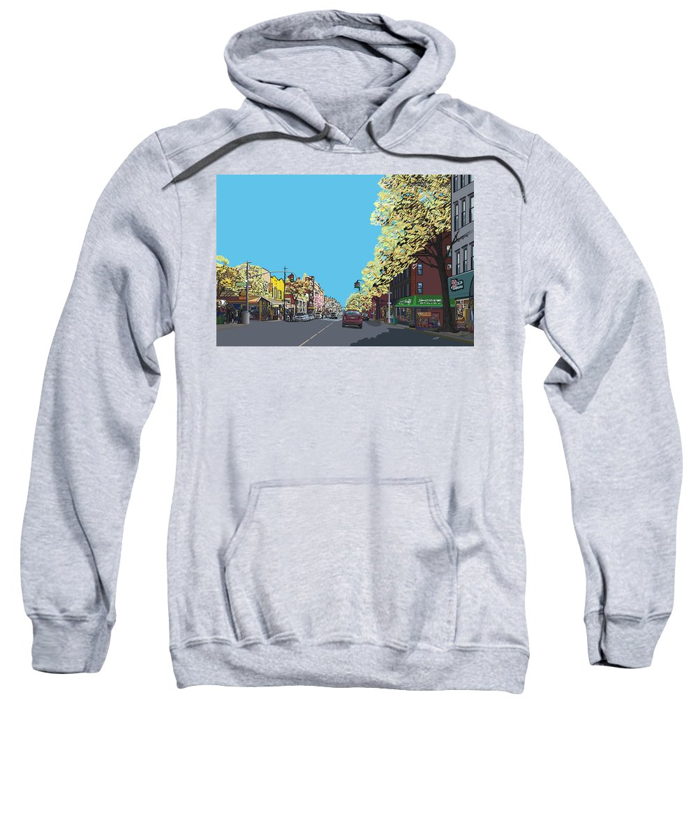 Landscape Sweatshirt featuring the digital art 5th Ave And Garfield Park Slope Brooklyn by James Mingo