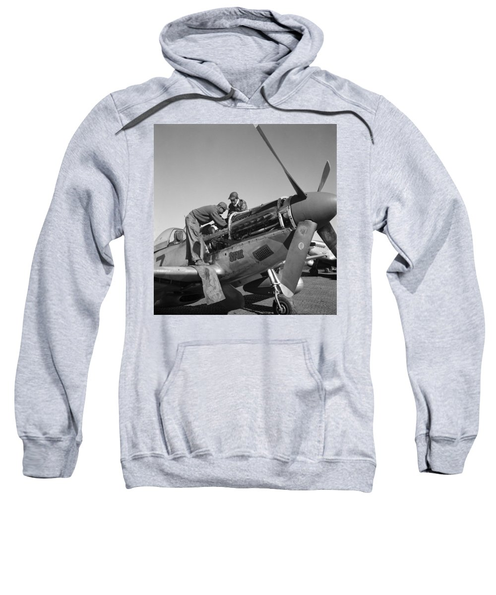 1945 Sweatshirt featuring the photograph Tuskegee Airmen, 1945 by Granger