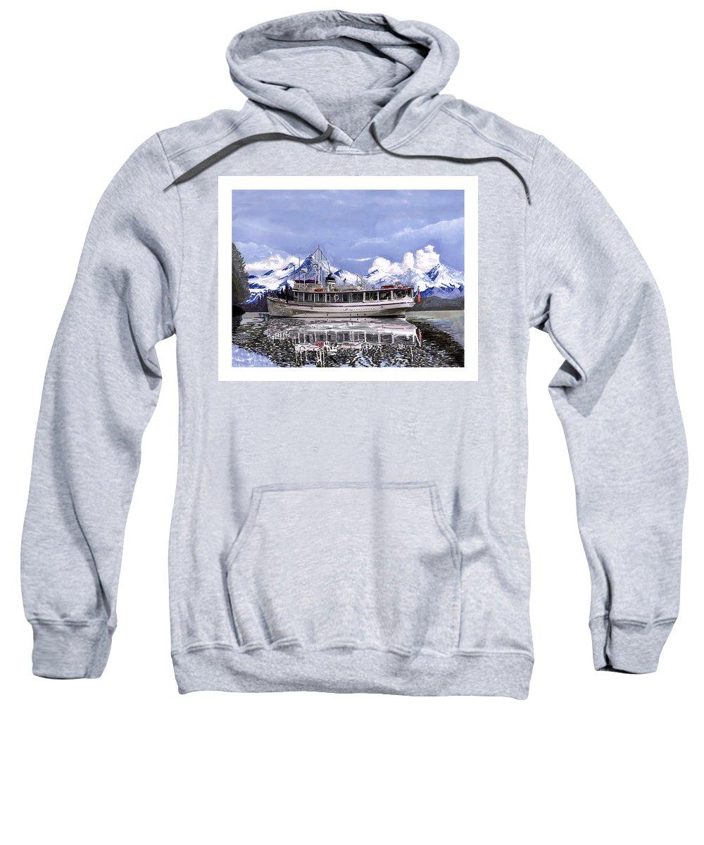 A Custom Yacht Portrait Sweatshirt featuring the painting Alaska Yachting by Jack Pumphrey