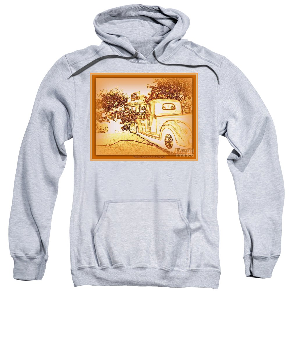 Classic Car Sweatshirt featuring the photograph A And W Drive In by Bobbee Rickard