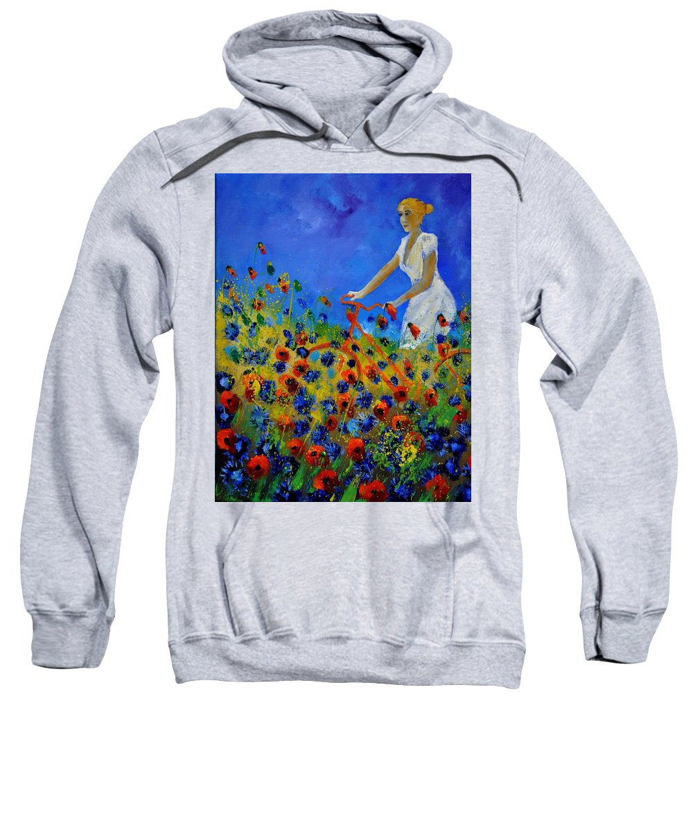 Flowers Sweatshirt featuring the painting A bicycle amid the flowers by Pol Ledent