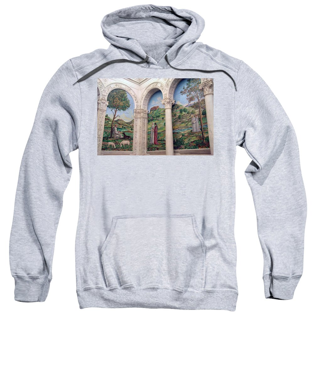 Mosaic Sweatshirt featuring the photograph A Chapel's Mosaics by Cora Wandel
