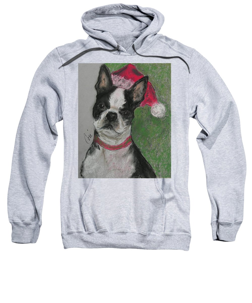 Boston Terrier Sweatshirt featuring the drawing A Christmas Terrier by Cori Solomon