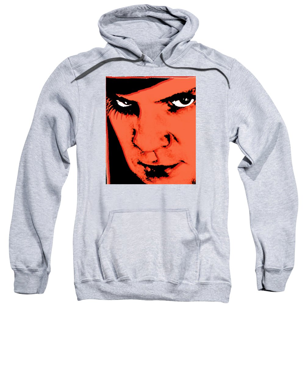 A Clockwork Orange Sweatshirt featuring the painting A Clockwork Orange Malcolm Mcdowell by Tony Rubino