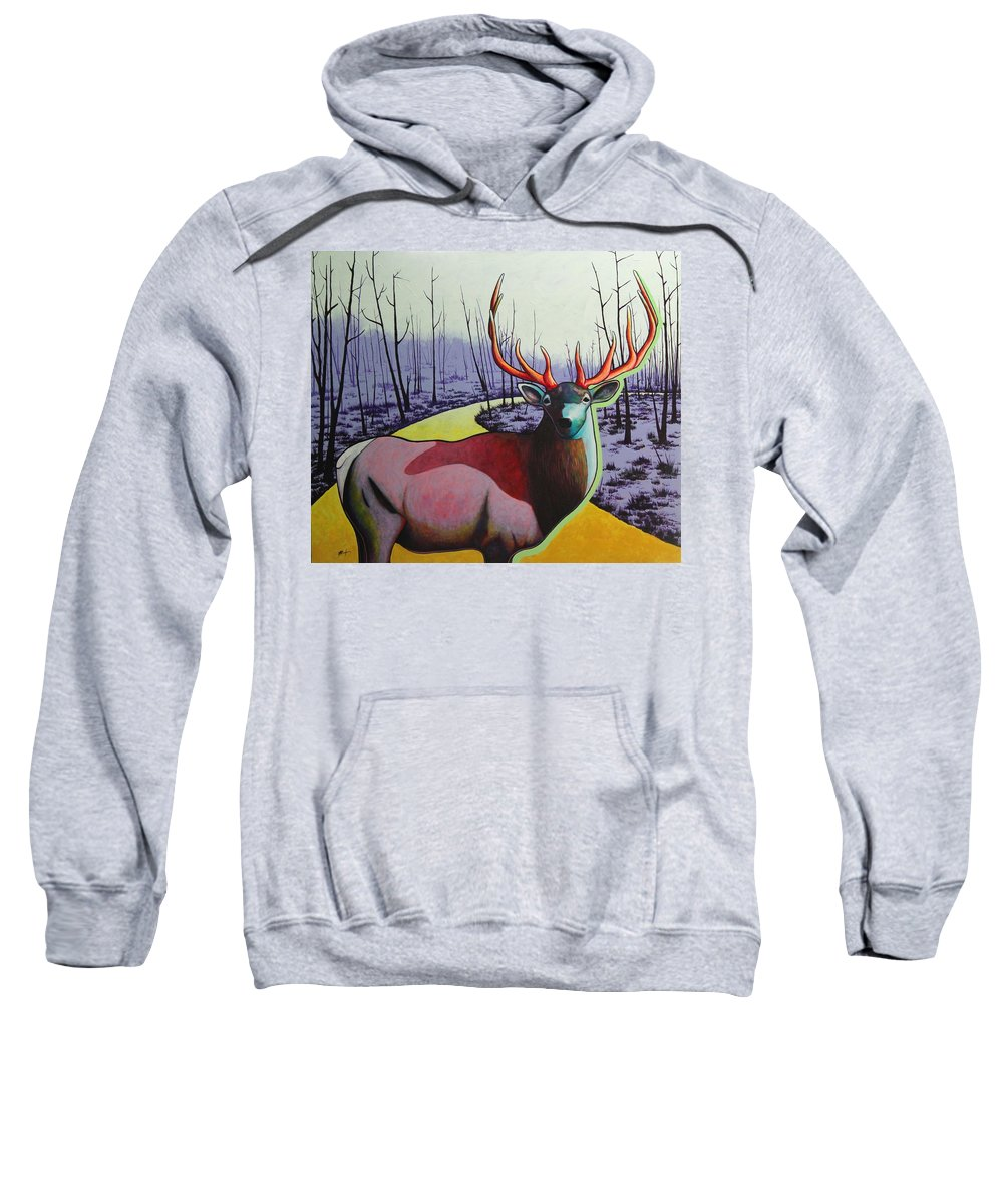 Wildlife In Yellowstone Park Sweatshirt featuring the painting A Close Encounter In Yellowstone by Joe Triano