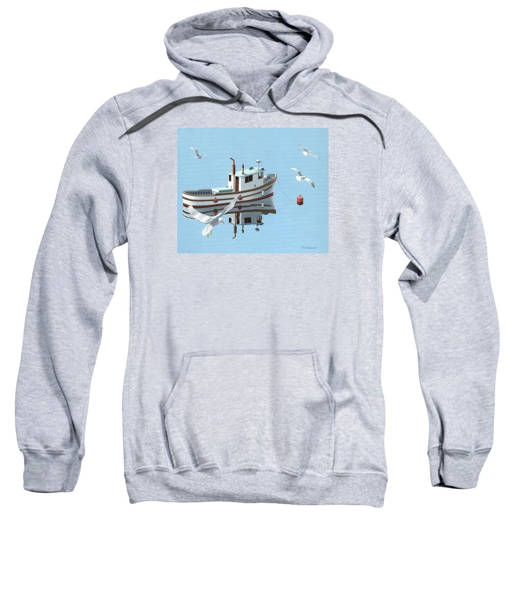 Boat Sweatshirt featuring the painting A Contemplation Of Seagulls by Gary Giacomelli