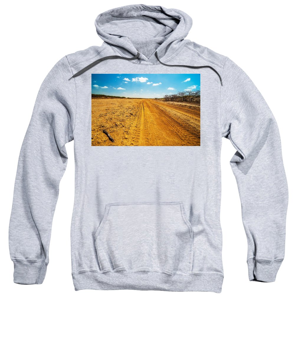 Desert Sweatshirt featuring the photograph A Dirt Road In The Desert by Jess Kraft