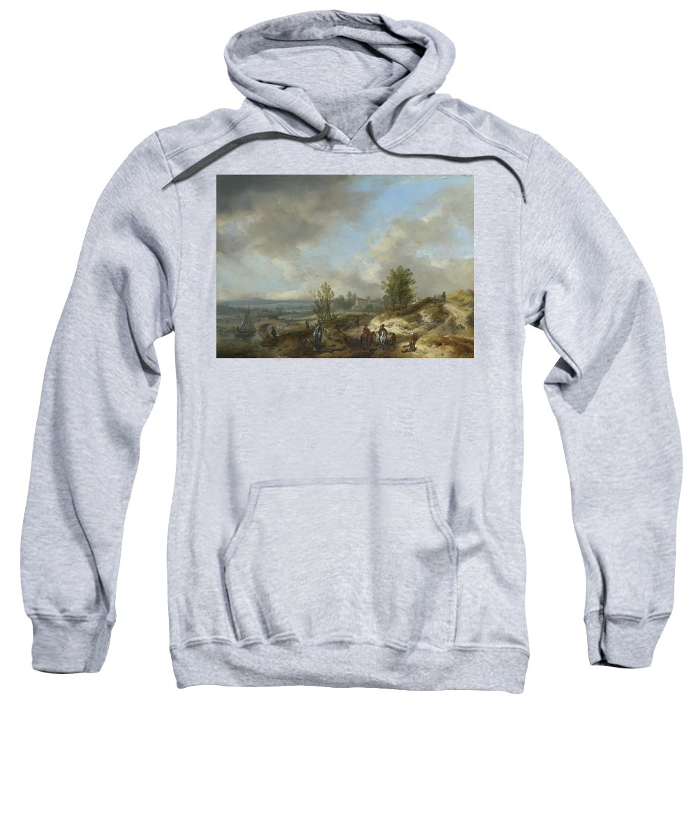 Philips Wouwerman Sweatshirt featuring the painting A Dune Landscape With A River And Many Figures by Philips Wouwerman