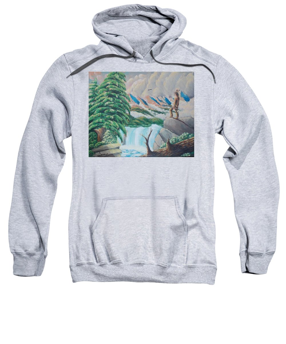 Land Scape Pitcher Indian American Eagle  Sweatshirt featuring the painting A Free Place by Carey MacDonald