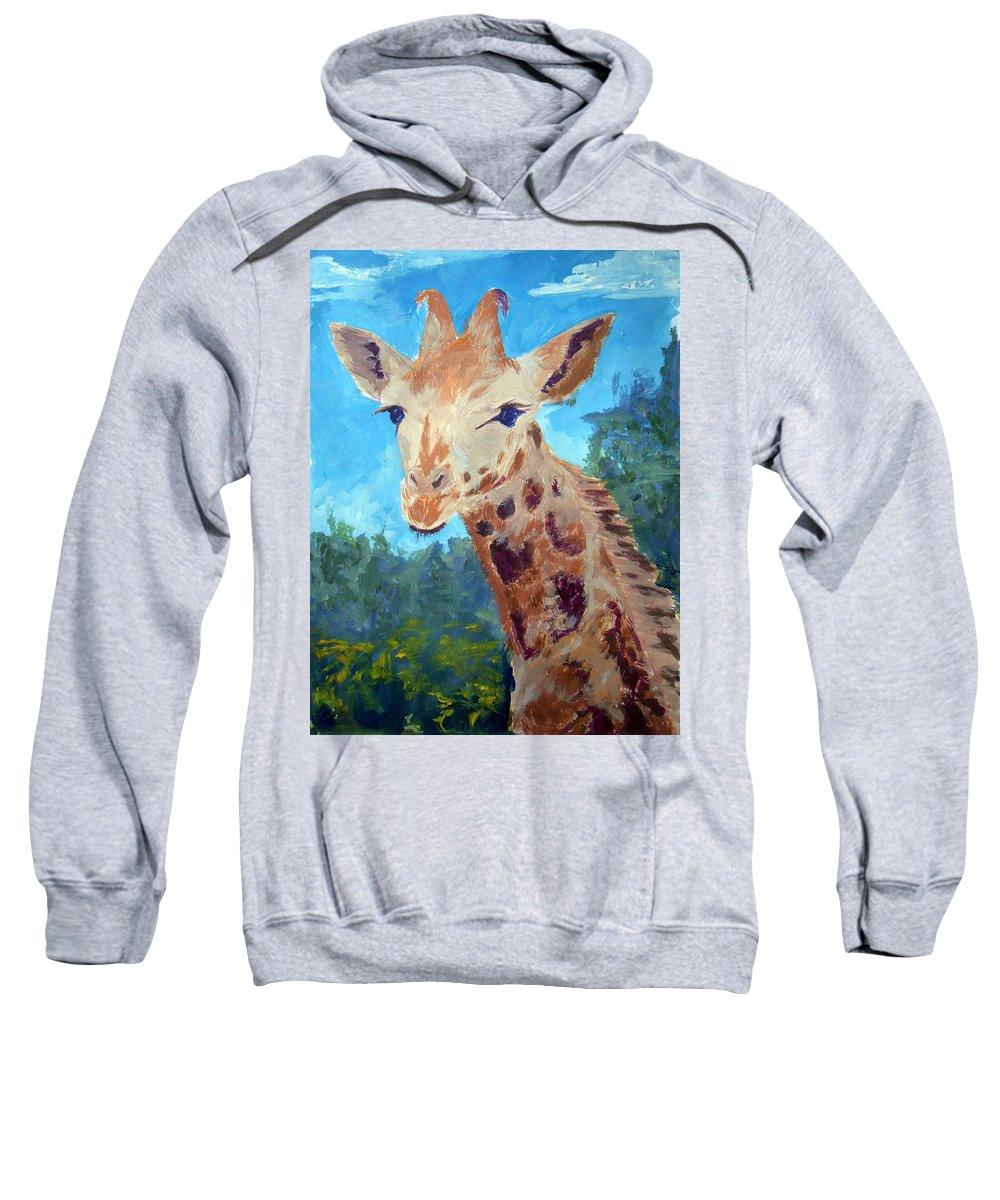 Giraffe Sweatshirt featuring the painting A Giraffe For Ori by Silvana Miroslava Albano