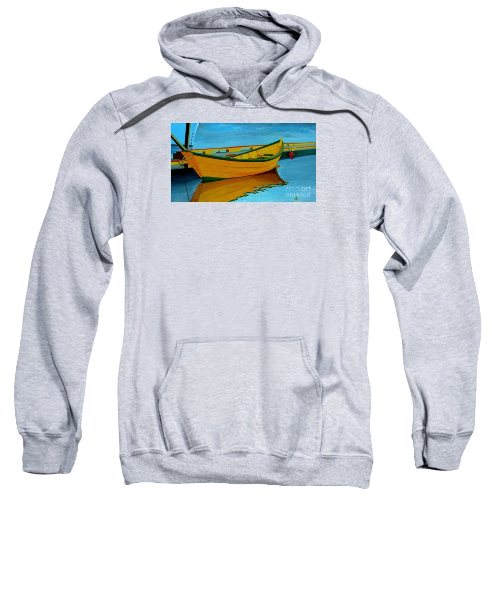 Grand Banks Sweatshirt featuring the painting A Grand Banks Dory by Anthony Dunphy