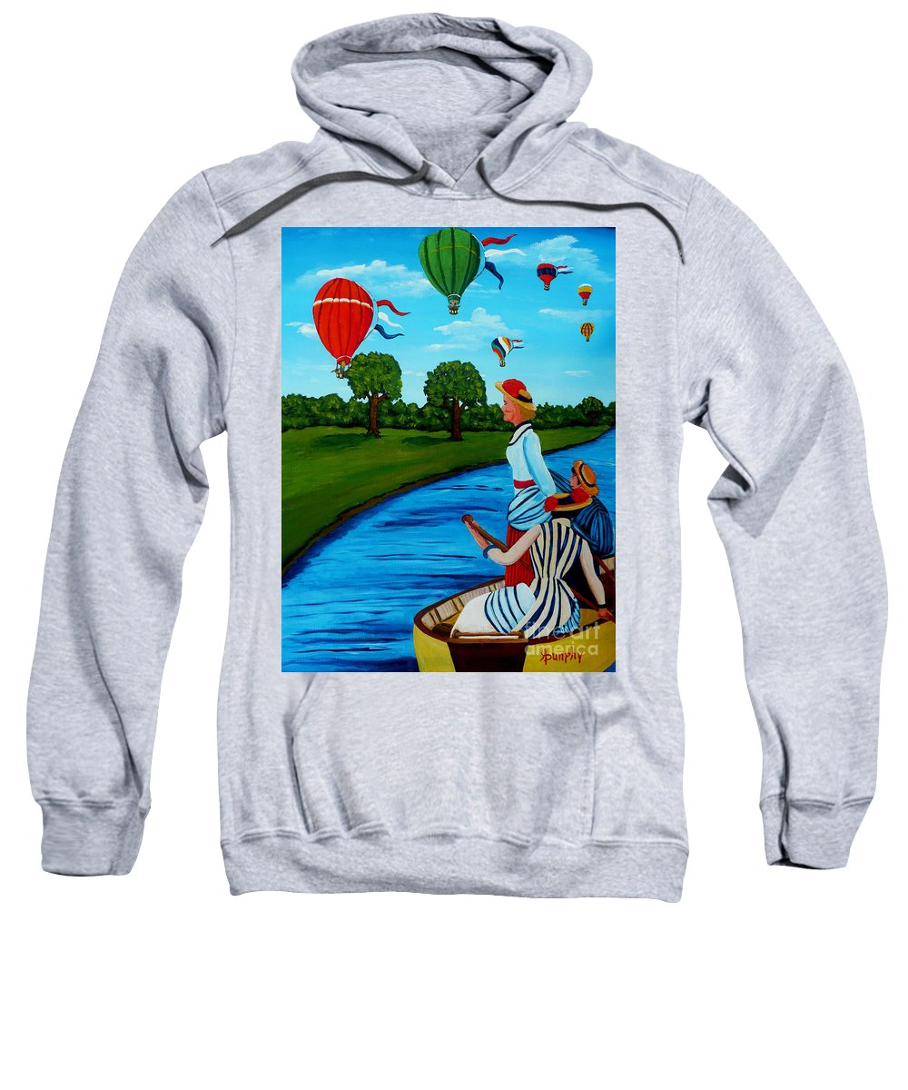 Boat Sweatshirt featuring the painting A Happy Day by Anthony Dunphy