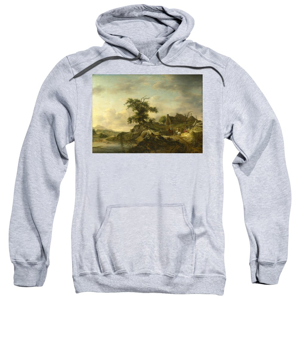 Jan Wouwerman Sweatshirt featuring the painting A Landscape With A Farm On The Bank Of A River by Jan Wouwerman