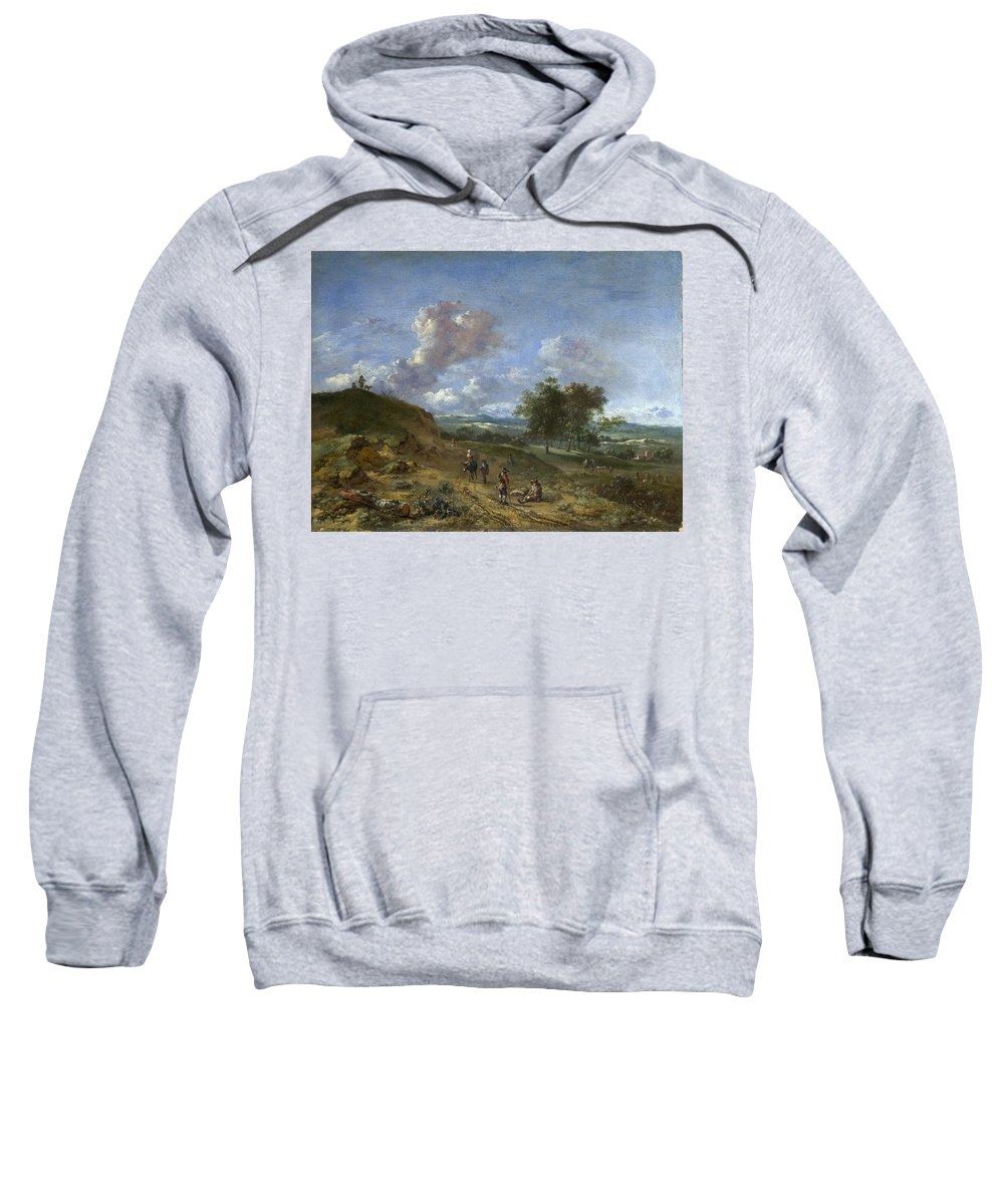 Jan Wijnants Sweatshirt featuring the painting A Landscape With A High Dune And Peasants On A Road by Jan Wijnants