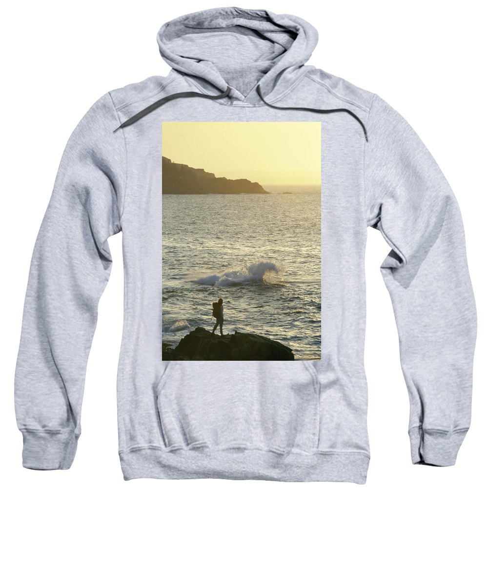 Acadia National Park Sweatshirt featuring the photograph A Person Hiking On Rocky Shore by Chris Giles