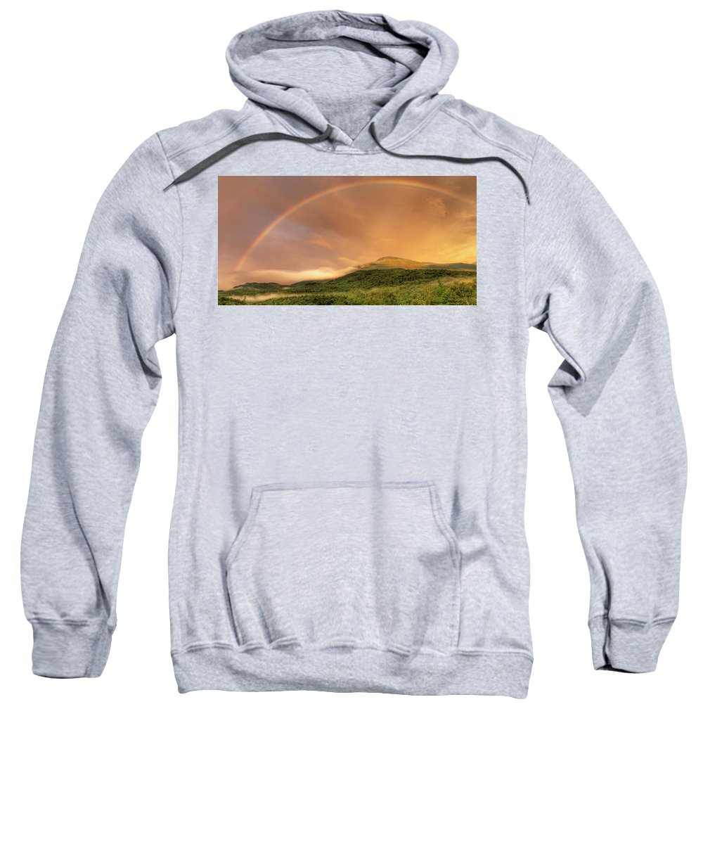 Beauty In Nature Sweatshirt featuring the photograph A Rainbow Appeared Over Mt. Washington by John Orcutt