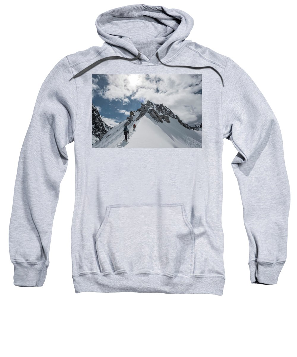 Young Women Sweatshirt featuring the photograph A Rope Team Climbs A Ridge by Alasdair Turner