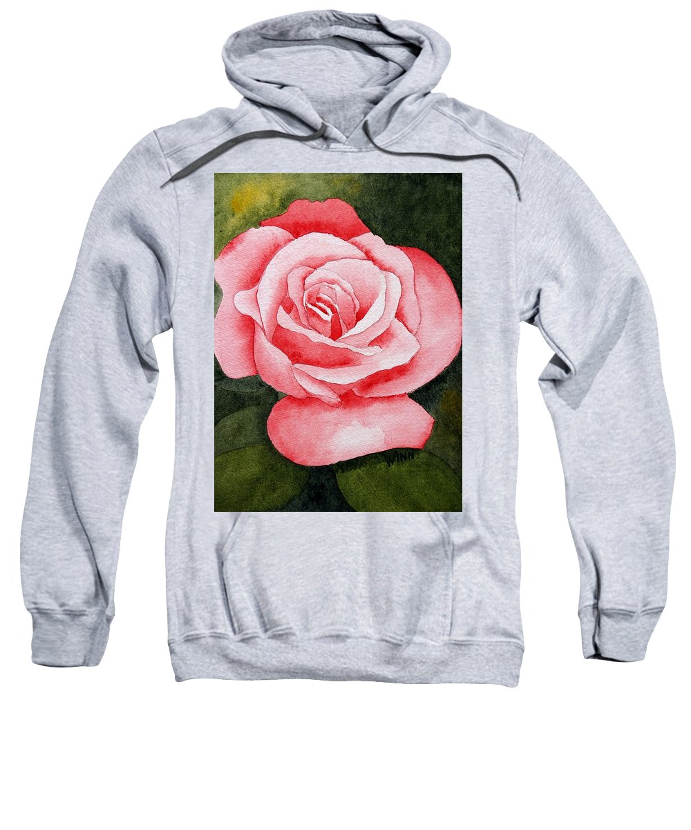 Watercolor Sweatshirt featuring the painting A Rose By Any Other Name by Brett Winn