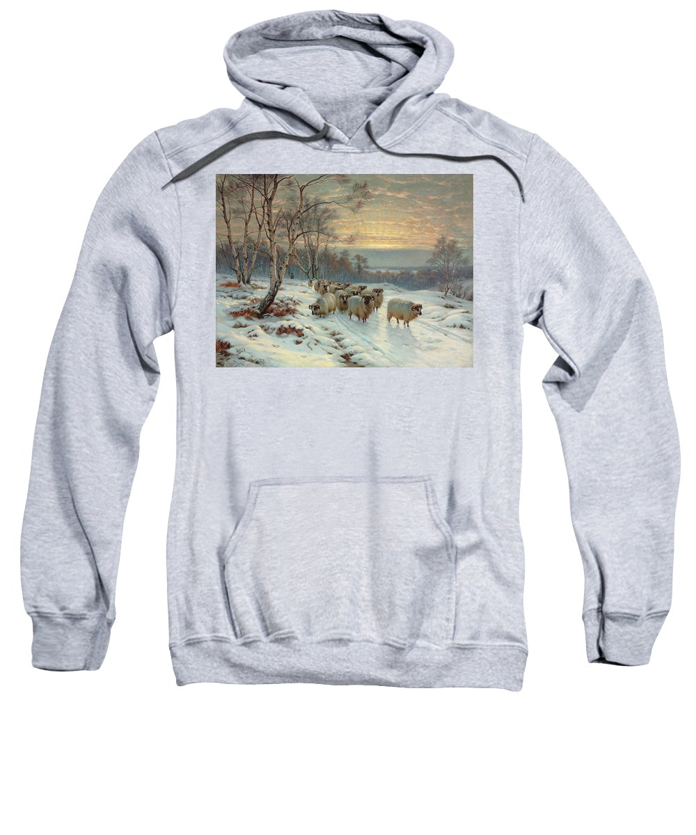 Shepherd Sweatshirt featuring the painting A Shepherd With His Flock In A Winter Landscape by Wright Baker