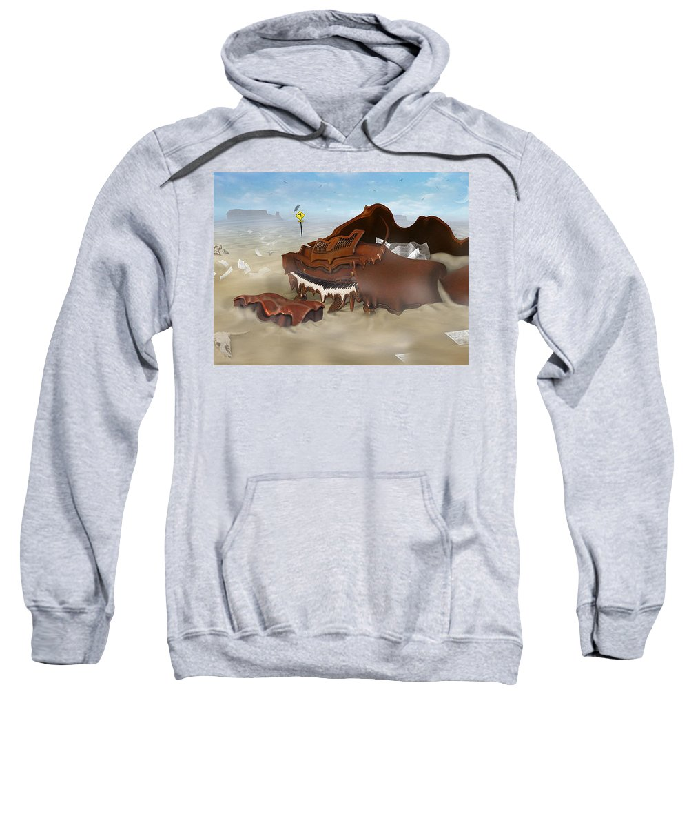 Surrealism Sweatshirt featuring the photograph A Slow Death In Piano Valley - Panoramic by Mike McGlothlen