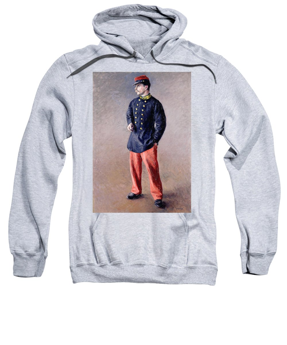 Un Soldat; Portrait; Male; Standing; Uniform; Smoking; Cigarette; Profile; Moustache; Cap; Third Republic; Brass Buttons; Army Sweatshirt featuring the painting A Soldier by Gustave Caillebotte