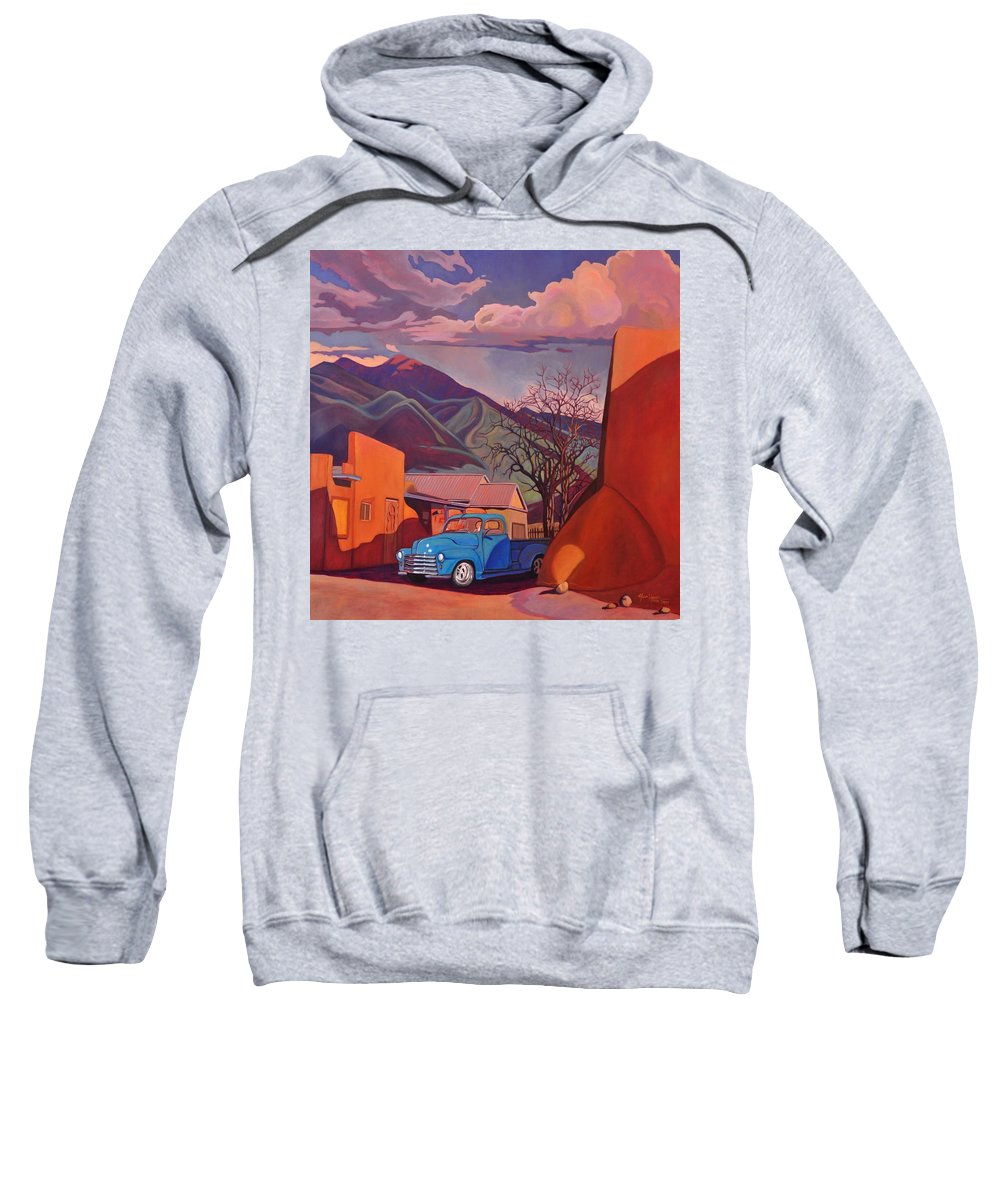 Old Sweatshirt featuring the painting A Teal Truck In Taos by Art West