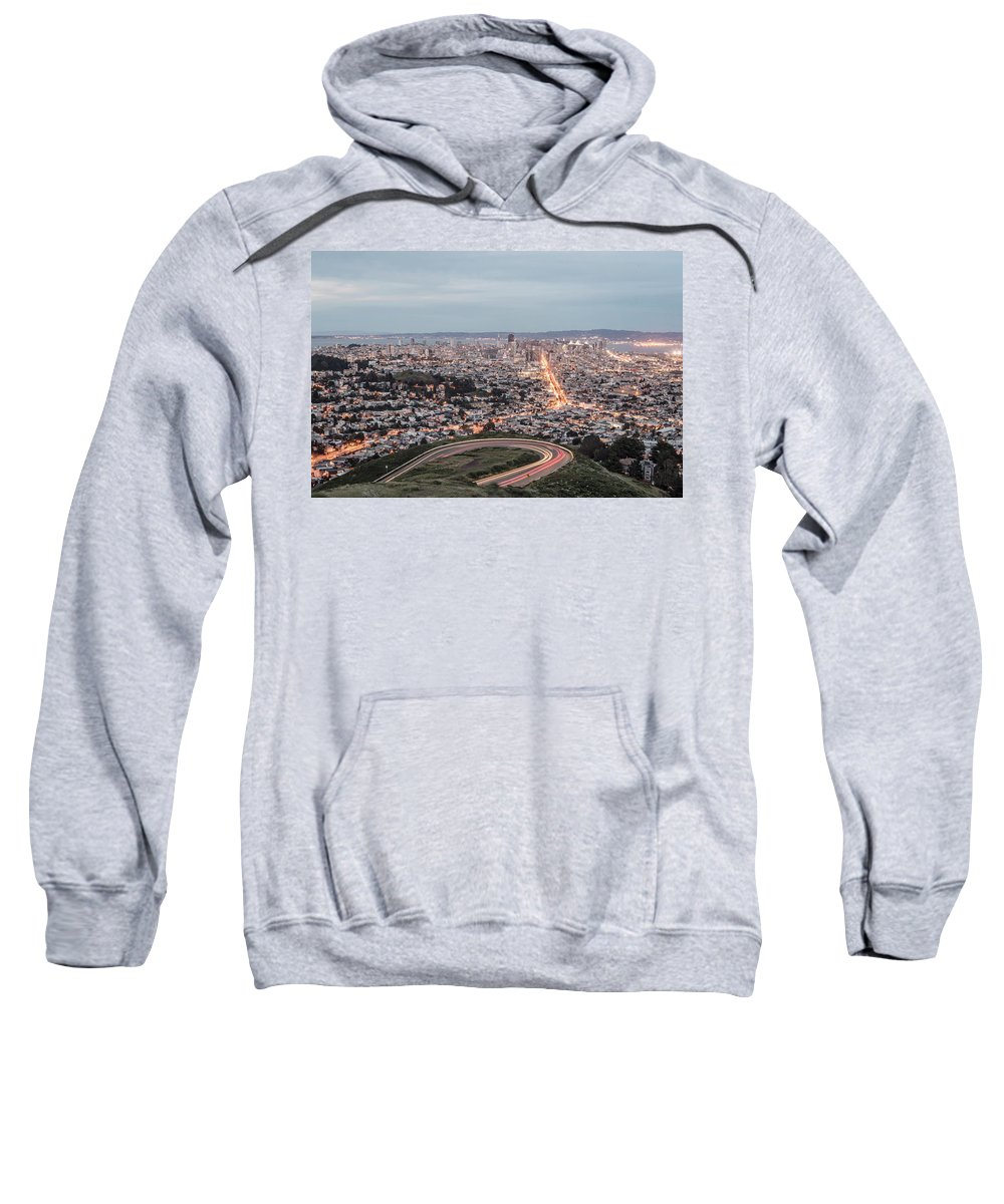 Building Sweatshirt featuring the photograph A View Of San Francisco At Twighlight by Chris Bennett