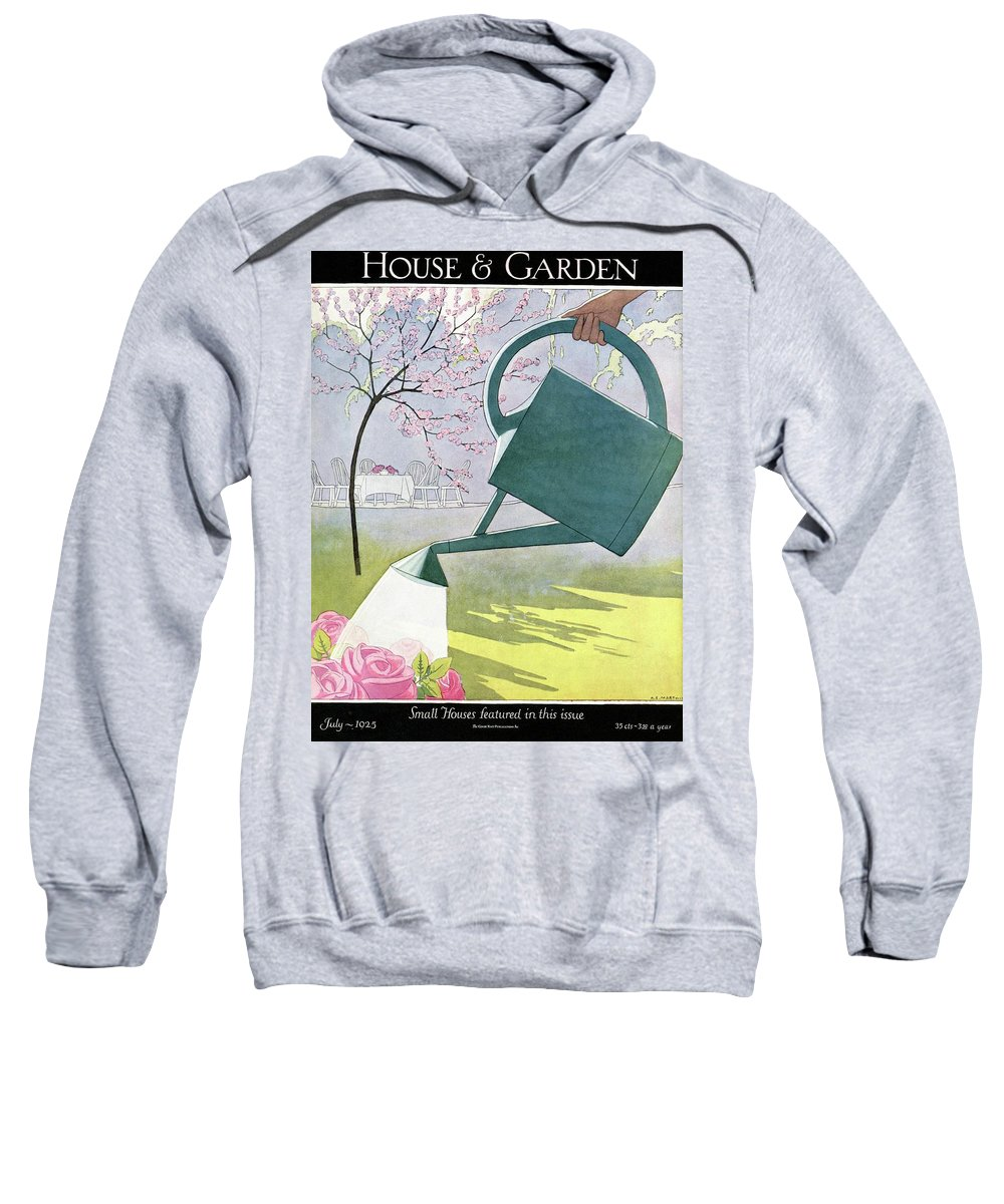 House And Garden Sweatshirt featuring the photograph A Watering Can Above Pink Roses by Andre E Marty